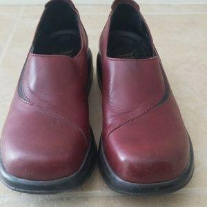 Women's Red Leather Dansko Loafer